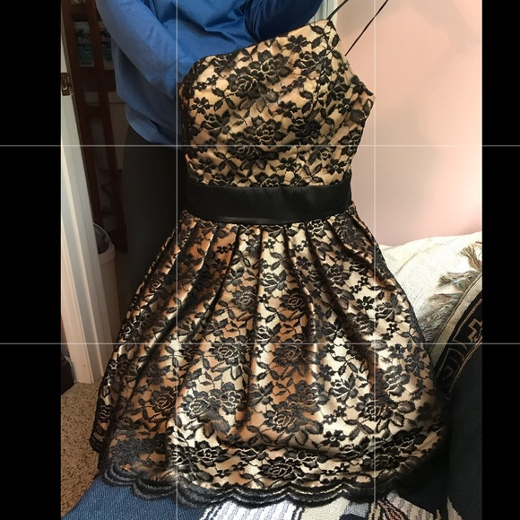 Masquerade Dresses One Shoulder Gold And Black Lace Dress Poshmark